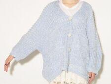 Korean Women Light Blue Mohair Blend Cardigan- Oversized Boyfriend Style