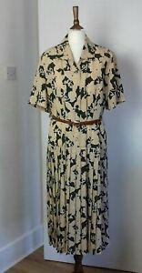 Eastex Heirloom Collection Vintage 80's Green Leaf Pattern Dress Size 16
