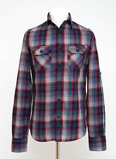 MENS SUPERDRY CASUAL SHIRT LONG ROLL SLEEVED BLUE CHECKED SIZE S SMALL VGC