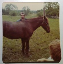 Vintage 70s PHOTO Man Boy Teaching Relatives How To Ride A Horse