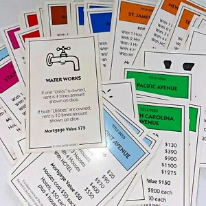 Monopoly Replacement Property Title Deed Card U Pick Here & Now