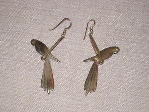 Vintage swinging parrot drop earrings