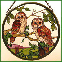 Decorative Hand Painted Stained Glass Roundel - Barn Owls