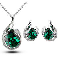 Emerald Green Leaf Jewellery Set Stud Earrings & Pendant Necklace S780