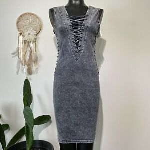 Large Juniors NWT HOT & DELICIOUS Lace Up Acid Wash Sexy Bodycon Dress