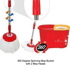 360 DEGREE SPINNING MOP BUCKET HOME CLEANER CLEANING WITH 2 MICROFIBER MOP HEADS