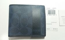 NWT COACH Heritage Coated Canvas Bifold Coin Pouch Men's Wallet 74449 Dark Navy