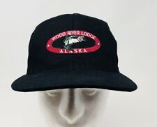 Vintage Wood River Lodge Alaska Snapback Baseball Hat Black Canvas