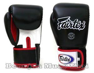 New Fairtex BGV1 Muay Thai Boxing Gloves Training Sparring black white red blue
