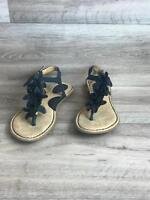 Born BOC Women's Size 9 40.5 Black Sling Back Flat Sandal Floral Ankle T-strap