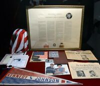 JFK KENNEDY INAUGURAL Program, DISPLAY, Funeral CLOTH, PENNANT, Papers, DVD, COA
