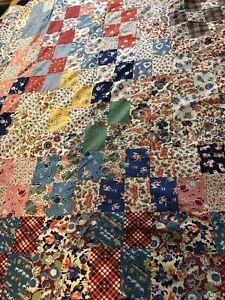 Vintage Quilt Top Hand Stitched 40's fabric Patchwork Crazy quilt