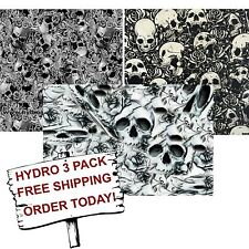 HYDROGRAPHIC FILM WATER TRANSFER PRINTING FILM HYDRO DIP FLOWER SKULLS 3 PACK