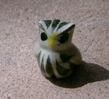 "Hand-Made MEXICO POTTERY OWL 1.25"" Tall, Floral"