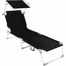 Aluminio Tumbona Plegable para Ocio y Jardín Playa Hamaca con Toldo Negro
