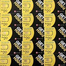 H2O Dual Sim card prepaid. Use At&T Network, Smart Sim card 2 In 1 (25 Cards)