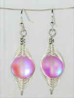 Wire Wrapped Round Rainbow AB Pink Glass Silver Dangle Earrings USA HANDMADE