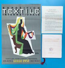 PAUL COLIN AFFICHE ORIGINALE 1951 EXPOSITION TEXTILE INTERNATIONALE + CATALOGUE