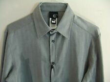 Just Cavalli Long Sleeved Button Front Shirt Herringbone Gray Roberto 52 42 US L