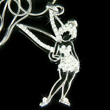 Big w Swarovski Crystal Fairy TINKERBELL Tinker Angel Wings Pendant Necklace New