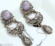 1 Pair Elegant Pink Crystal Rhinestone  Ear Drop Dangle Stud long Earrings 217