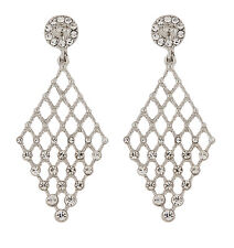 CLIP ON EARRINGS - silver plated chandelier earring with crystals - Annie S