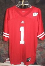 Wisconsin Badgers NCAA Adidas Red #1 Large Football Jersey