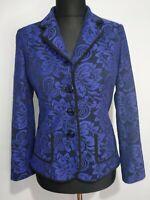 GERARD Business Jacket Size 10 Cobalt Blue Lace Black Trim Smart Blazer Royal