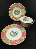 Vintage SPODE  tea cup saucer plate SP 2-7214 Red with Bird flowers butterfly