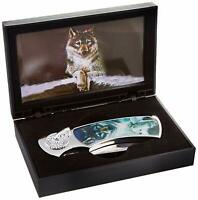 """7"""" WOLF KNIFE Decorative Handle Folding Pocket Hunting Stainless Steel Blade Box"""