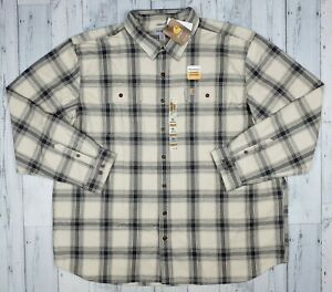 NEW! Carhartt Mens 3XL Tall Long-Sleeve Button Up Heavy Flannel Oyster White NWT