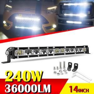 Car Truck 14'' 240W Single Row Combo Beam Slim LED Working Light Bar Waterproof