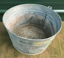 Galvanized #2104 Washtub Bucket 14 x 8h vintage metal pail planter