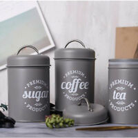 Set of 3 Tea Coffee Sugar Canisters Kitchen Storage Pots Jars Metal Jar Grey