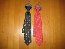 New Lot 2 Chaps boys clip-on neck tie red sharks Santa + penguins 14� Christmas