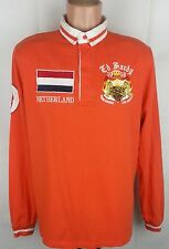 Ed Hardy Vintage Orange Long Sleeve Casual Men's Rugby Polo Shirt Top Size:L