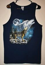 Men's Wolves Night Sky Moon Outdoor Mountain Blue Tank Shirt Size Medium