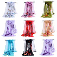 Bohemian Women Butterfly Print Chiffon Soft Wrap Scarf Lady Retro Shawl Scarves