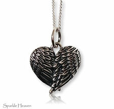 925 Sterling Silver Necklace with Angel wings folded in a heart charm pendant