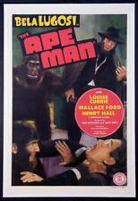 """THE APE MAN""-ORIGINAL ONE SHEET-POSTER-HORROR-BELA LUGOSI-MONOGRAM-MONSTER"