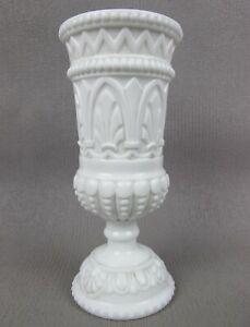 Superb antique white portieux vallerysthal milk glass Chalice Goblet Celery Vase