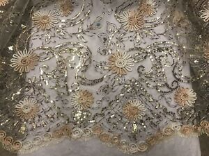 """Gold Brown Silver Sequins Metallic embroidery Lace Fabric 50"""" Width 1 Yard"""