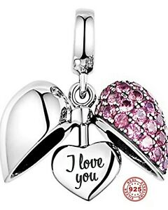 💖 I Love You Heart 925 Sterling Silver Bead Charm Mum Wife Daughter Pink 💖