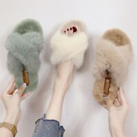 Womens Winter House Slippers Slip on Faux Fur Flat Sandals Soft Warm Shoes Home