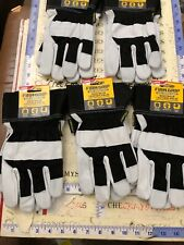 5X NEW FIRM GRIP Goatskin Leather Gloves with Safety Cuff TOUGH WORKING GLOVES