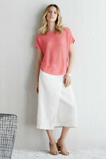 Eileen Fisher Organic Linen Wrap Front Midi Skirt White XL $198