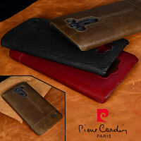 Pierre Cardin For LG V30 V20 G7 G4 G5 G6 Genuine Leather Cover Hard Back Case