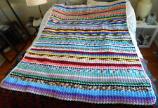 Hand Made Striped Knit Wool Rainbow Multi-color Afghan Blanket - 64 x 75 Twin