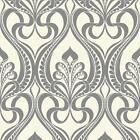 Grandeco Art Nouveau Damask Pattern Wallpaper Art Deco Metallic Glitter Embossed