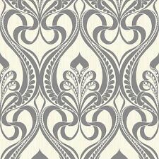 Grandeco Art Nouveau Charcoal Wallpaper 113001 Metallic Glitter Damask